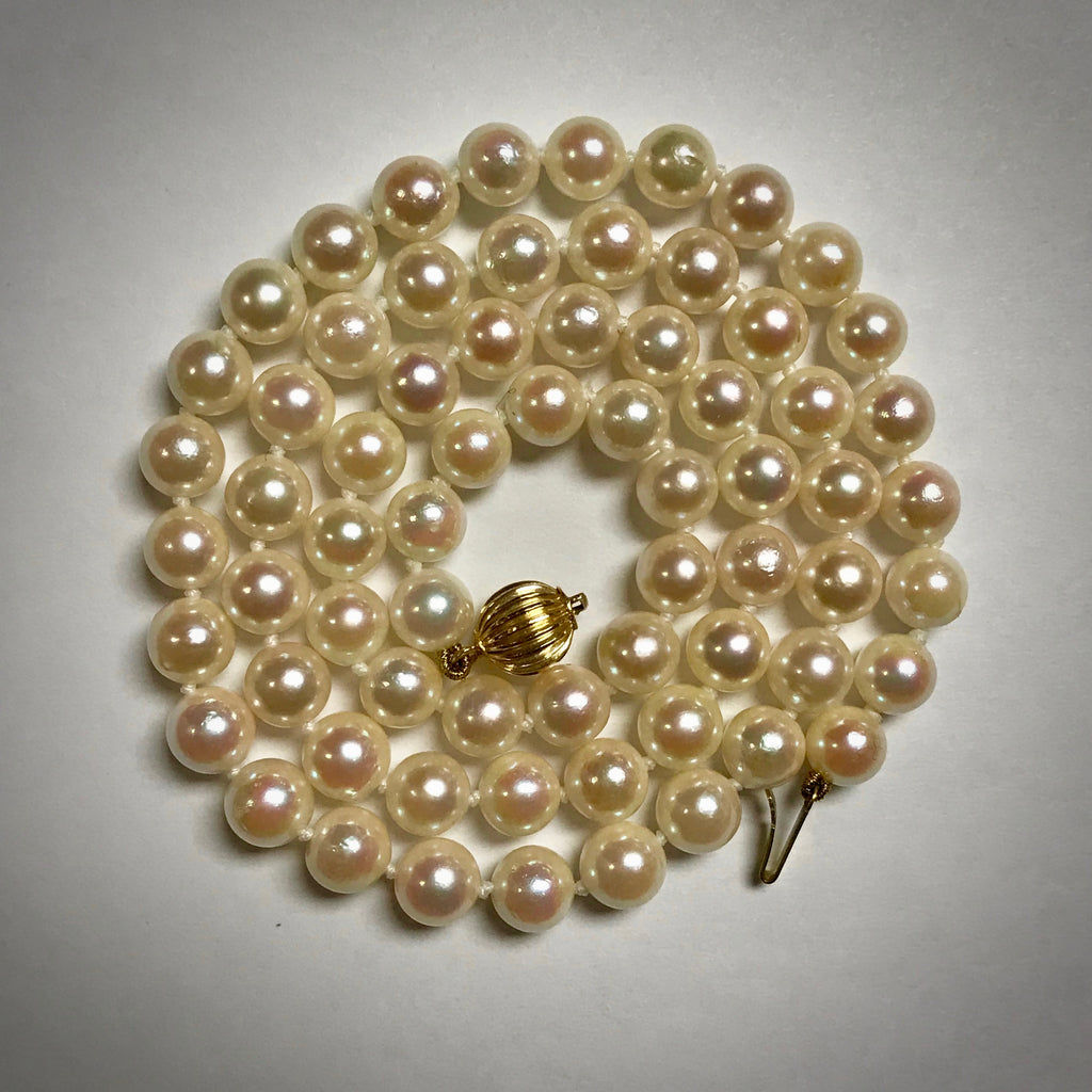 "14KY cultured pearl necklace 19"" 6-6.5mm uniform strand"