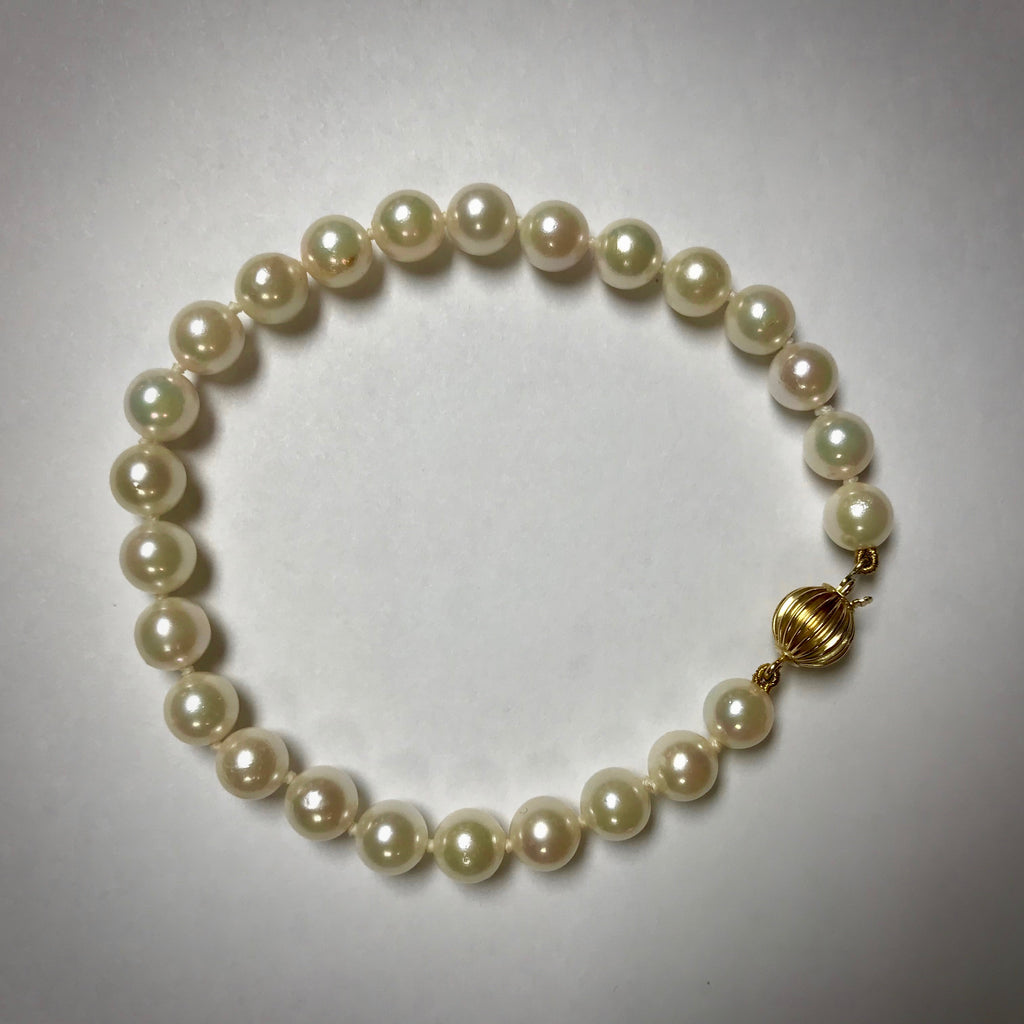 14KY cultured pearl bracelet 6-6.5mm uniform