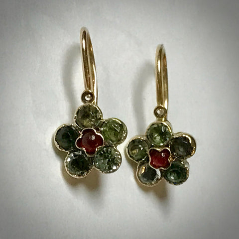 14KY antique dangle earrings with red & green glass stones