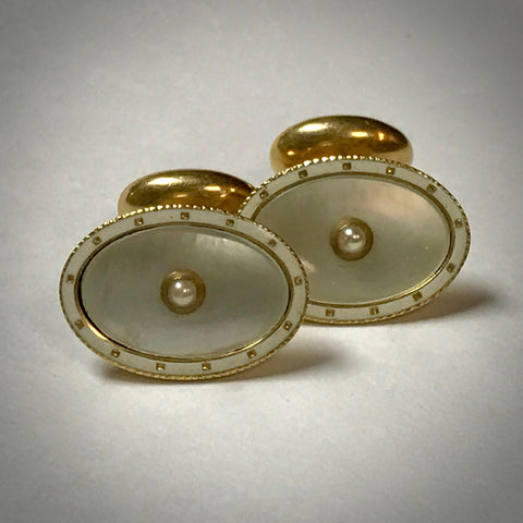 14KY Carter Gough & Company Cufflinks with mother of pearl