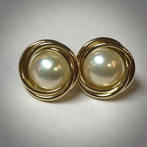 14KY mabé cultured pearl earrings with 12.5 millimeter pearls