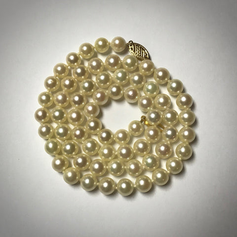 "18"" long uniform cultured pearl necklace 6-6.5 millimeters"