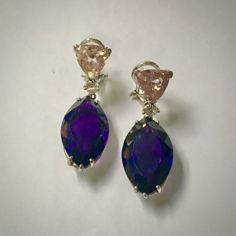 Ladies 18KW drop earrings with Amethyst, Morganite, & Diamond