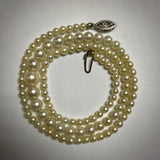 "18"" long graduated Akoya cultured pearl necklace 3.25-7.0 mm"
