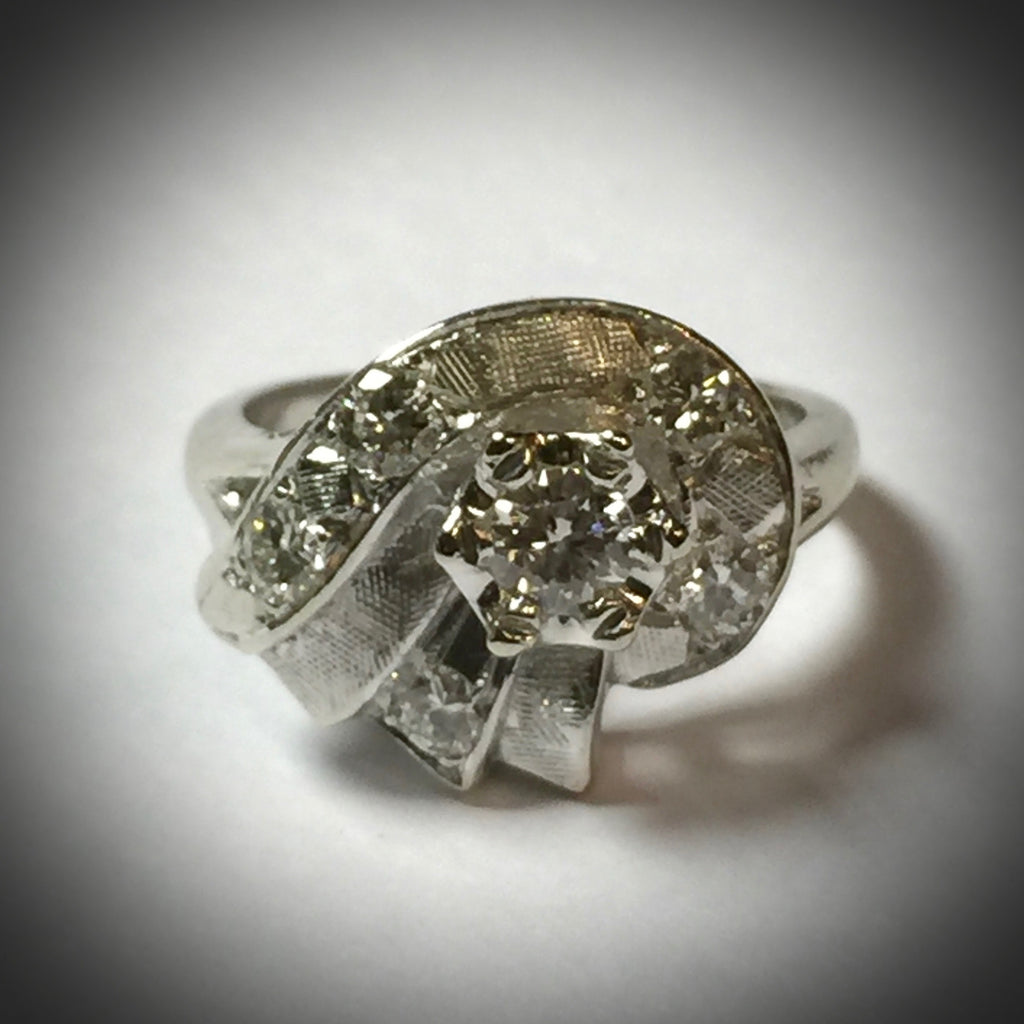 Lady's 14KW vintage ring ca 1950 .61 ct. total diamond weight
