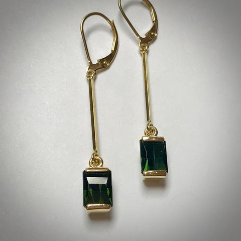 14KY dangle earrings with 8x6mm Green Toumalines 3.0ctgw