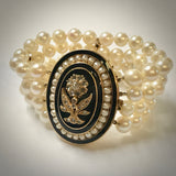 Ladies 14KY four strand cultured pearl bracelet with enamel