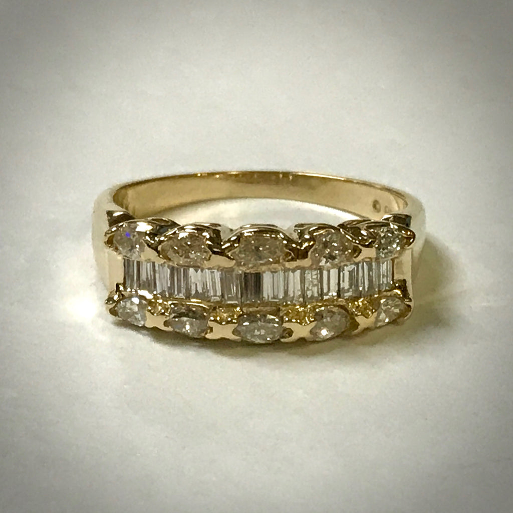 Ladies 14KY marquise and baguette diamond ring 1ctdw