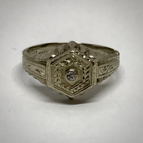 Mens 14KW vintage ca 1930 .04 carat diamond ring