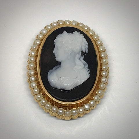 Ladies 18KY Victorian Black & White Onyx Cameo Pin Pendant