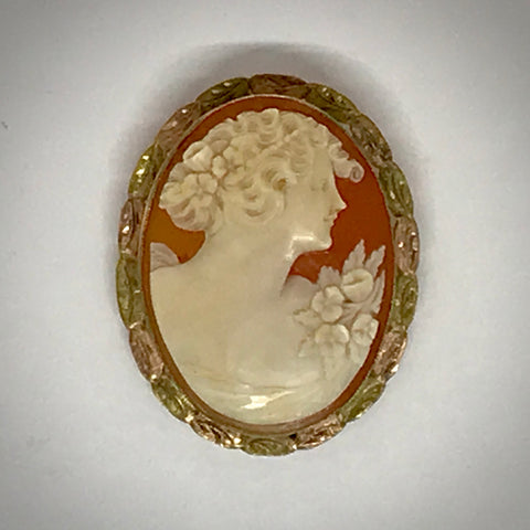 Ladies 10K shell cameo pin pendant tri-color frame circa 1935