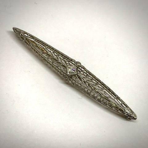 Ladies 14KW filigree bar pin .05ct. old european cut diamond