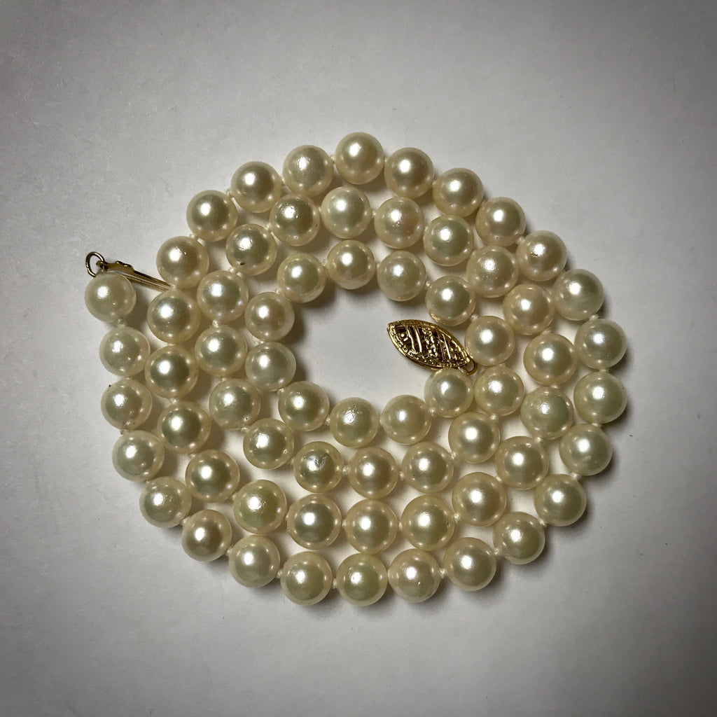 "18"" Cultured pearl strand 6-6.5mm with a 14KY pearl clasp"