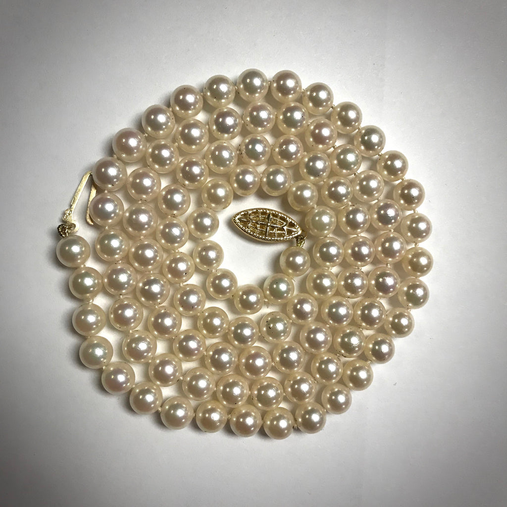 "Cultured pearl necklace 28"" long 6-6.5mm 14KY clasp"