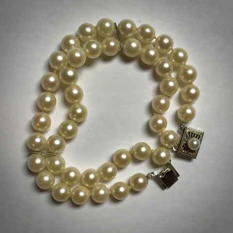 "14KW two strand 7"" long Akoya cultured pearl bracelet 6.5-7mm"