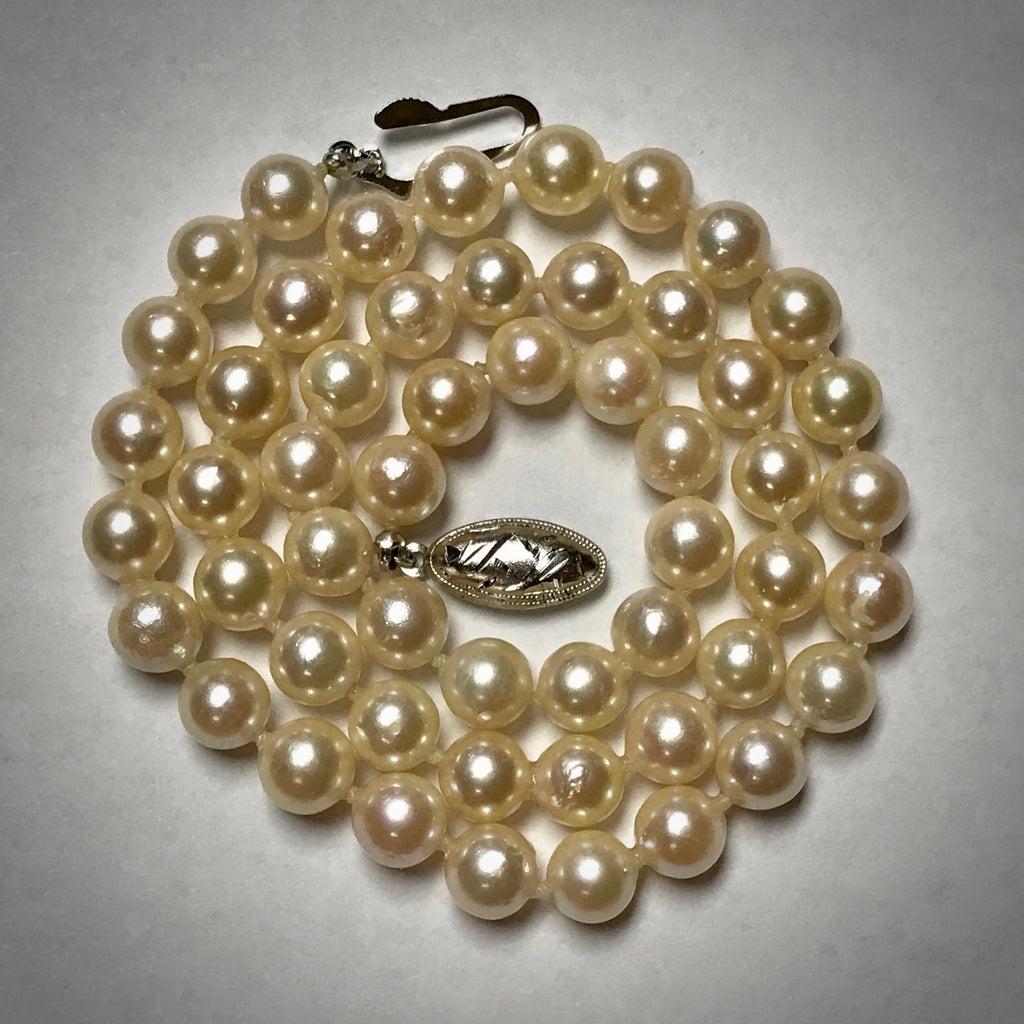 "Cultured pearl necklace, Akoya, 17"" long, 7-7.5mm, uniform"