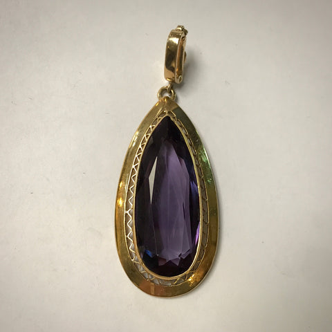Ladies 18KY pendant with pear shape amethyst & enhancer bail