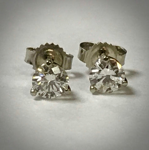 Ladies 14KW diamond solitaire earrings 5/8 ctdw VVS2 clarity