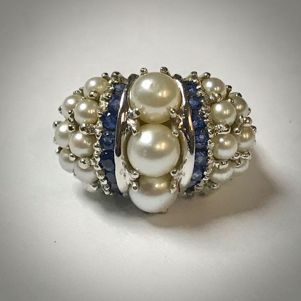 Ladies 14KW ring with blue sapphires and cultured pearls
