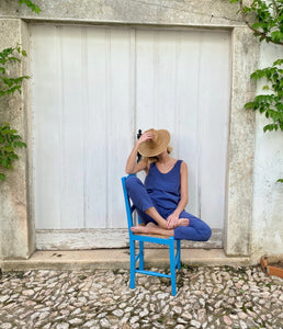 9759 - CAUÉ - BLUE TOP IN CUPRO -BYOU by Patricia Gouveia