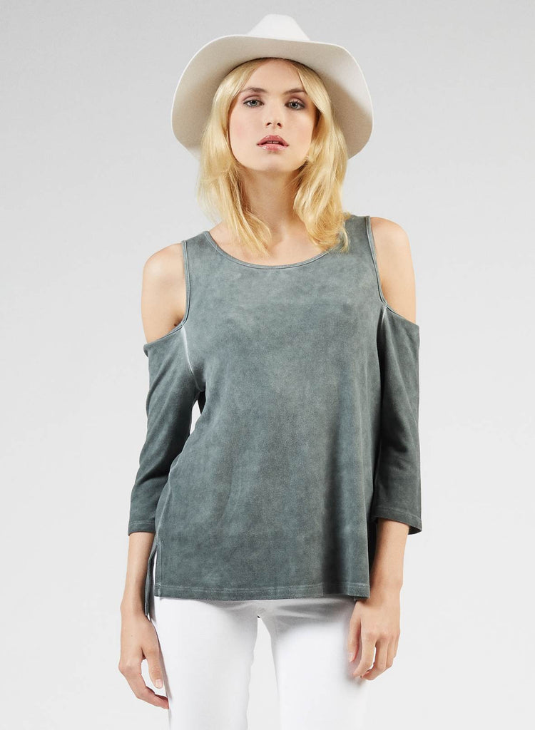 Tart Albany Cold-Shoulder Top in High-Rise Garment Dye