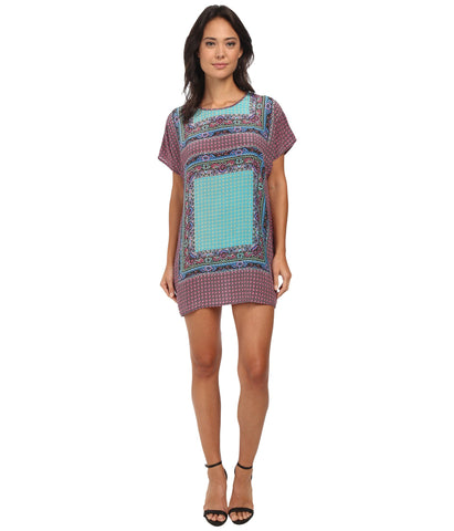 tolani tiffany printed dress in fuchsia