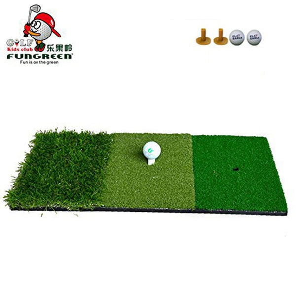 FUNGREEN Golf Hitting Mat 3 Grasses with Rubber Tee Holder Golf Training Aids Indoor Outdoor Tri-Turf Golf Hitting Grass