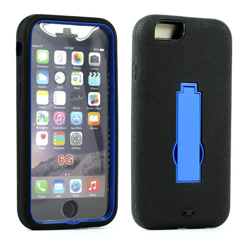 Apple iPhone 6/6S 4.7 Armor Hybrid Case w Screen and Stand (Black Black) - AVT Express  - 3