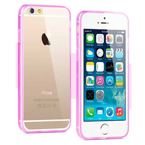 Apple iPhone 6/6S 4.7 Crystal Clear Gummy Hybrid Case - Pink - AVT Express
