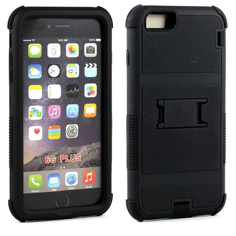 Apple iPhone 6/6S Plus 5.5 Ultra Shield Armor Hybrid with Stand - Black - AVT Express  - 1