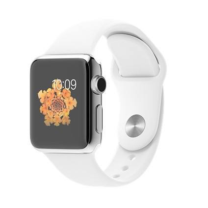 Apple Watch 38mm Stainless Steel Case with White Sport Band - AVT Express