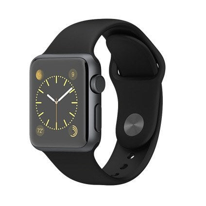 Apple Watch Space Gray Aluminum Case with Black Sport Band 38 mm - AVT Express