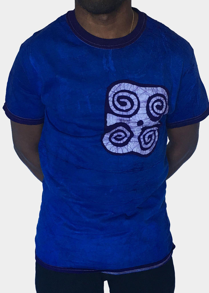 Blue and White Short Sleeve T-shirt with Ram's Horns Symbol
