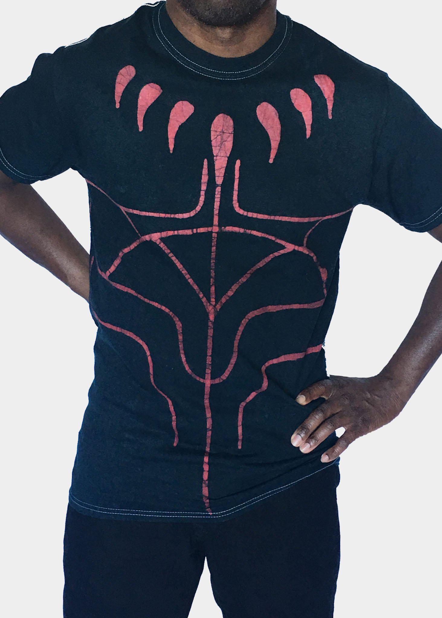 Green and Red Short  Sleeve T-shirt with Wakanda Claws