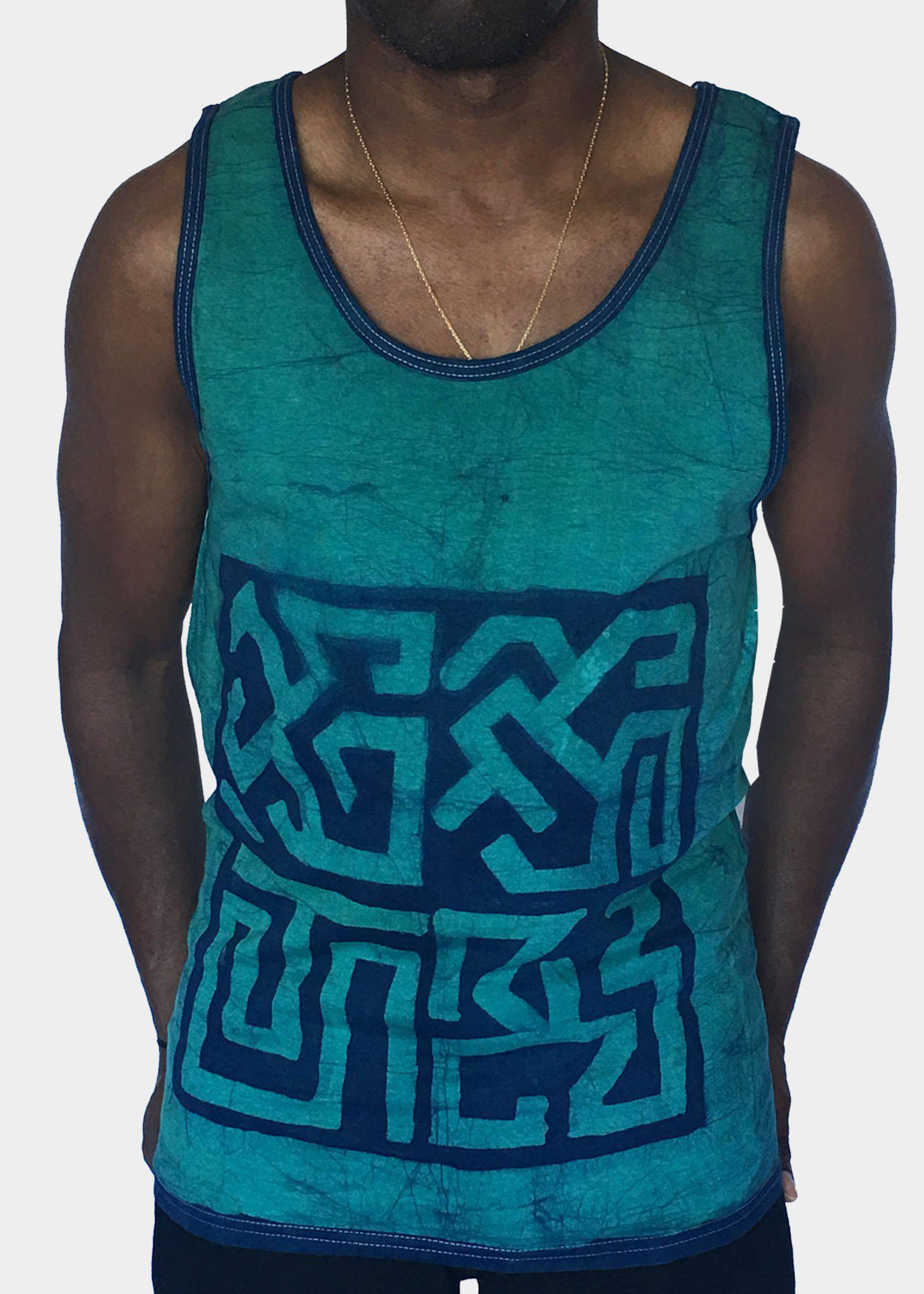 Green and Blue Tank Top with Geometric Designs
