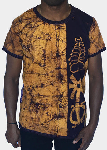Gold and Purple Fitted T-shirt with Adinkra Symbols