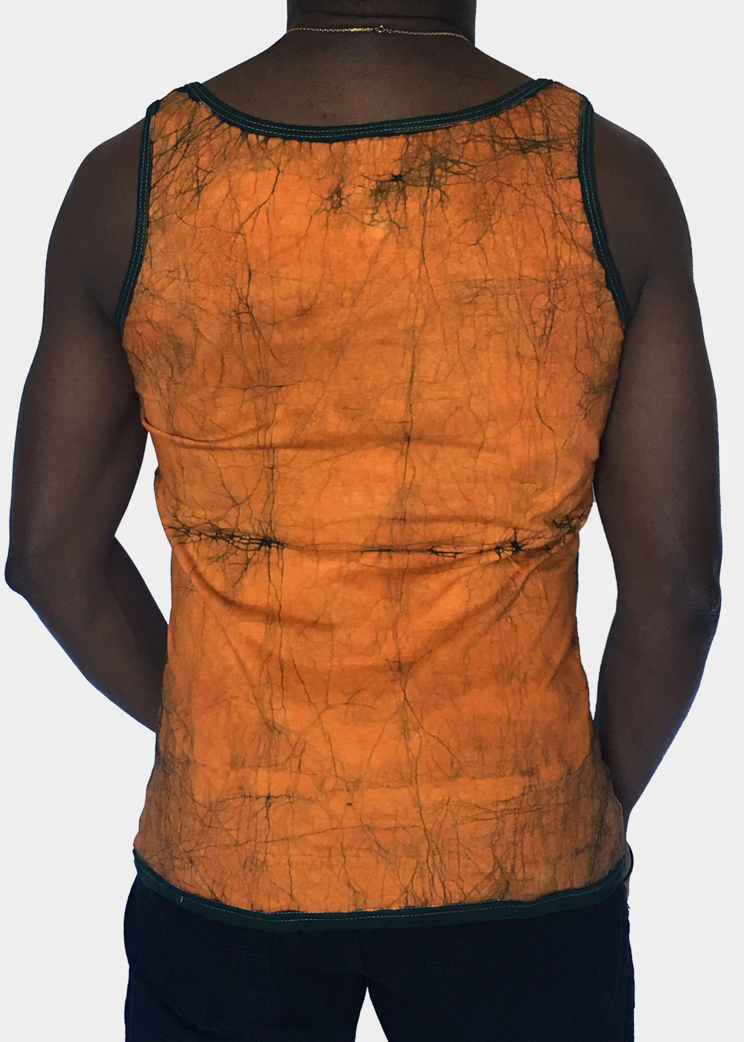 Orange and Green Fitted  Tank Top with African and Adinkra Symbols