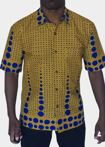 African Print Shirt Fitted Yellow