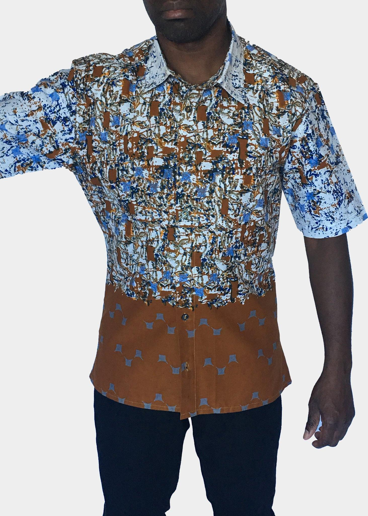 African Print Shirt Fitted Brown White