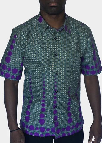 African Print Shirt Fitted Purple Dots