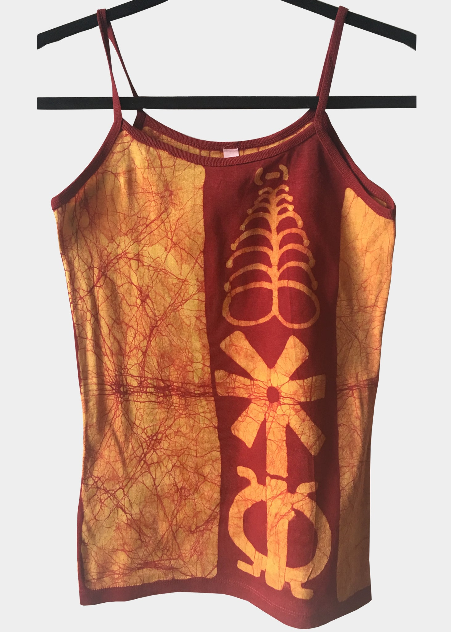 Orange and Red Fitted Tank Top with Adinkra Symbols