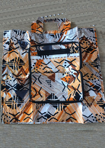 Foldable Tote Bag Orange and White