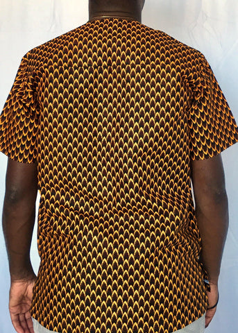 African Print Shirt Fitted Brown Yellow