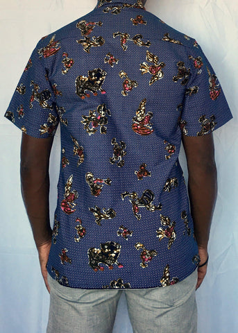 African Print Shirt Fitted Blue