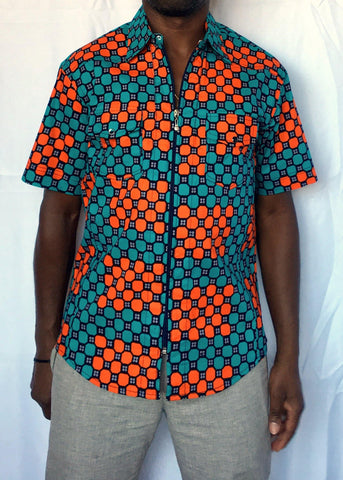African Print Shirt Fitted Zipper