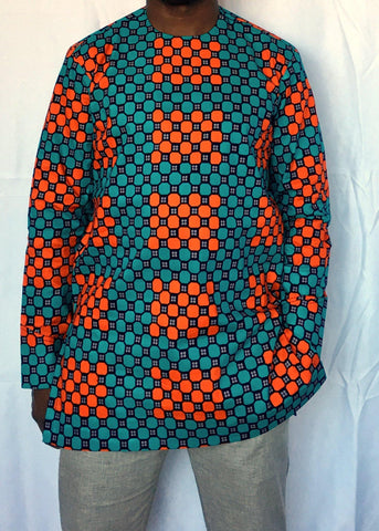 Blue Orange Long Sleeve Tunic