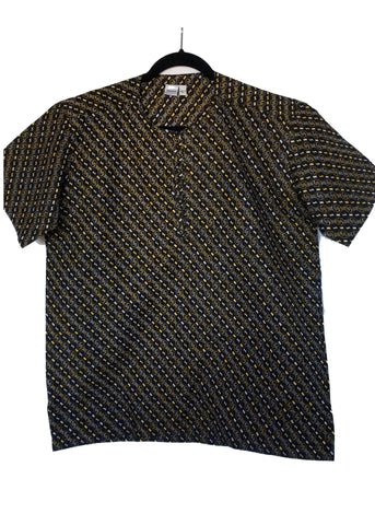 African Print Shirt Round Neck Opening