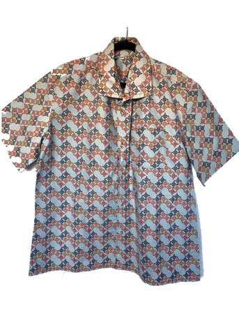 African Print Shirt Orange Gray Waves