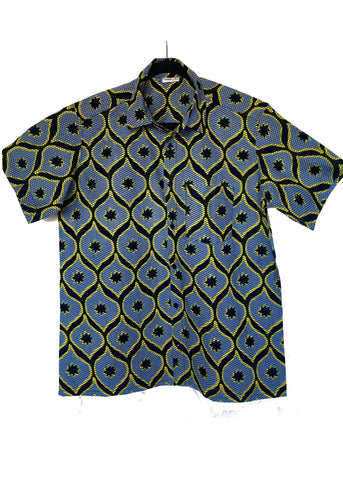 African Print Shirt Fitted Black Stars