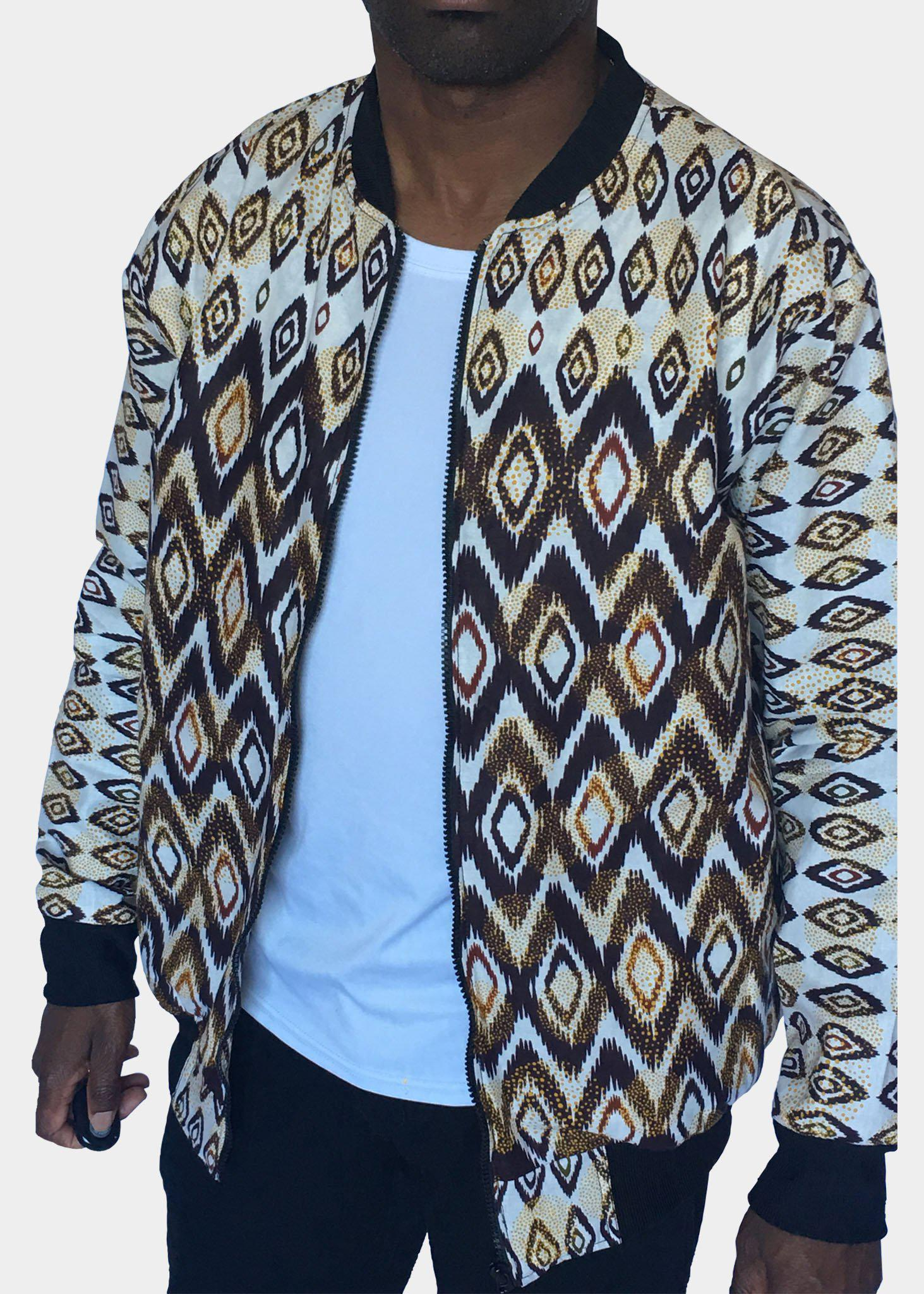 Diamond Shape  White Bomber Jacket